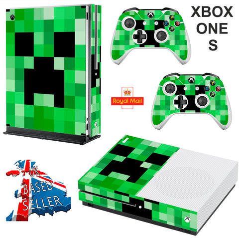 GREEN PIXELS XBOX ONE S (SLIM) *TEXTURED VINYL ! * PROTECTIVE SKIN DECAL WRAP