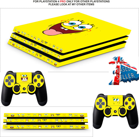 SPONGEBOB PS4 PRO SKINS DECALS (PS4 PRO VERSION) TEXTURED VINYL