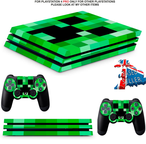 GREEN PIXELS PS4 PRO SKINS DECALS (PS4 PRO VERSION) TEXTURED VINYL