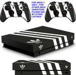 ADIDAS BLACK & WHITE XBOX ONE X *TEXTURED VINYL ! * PROTECTIVE SKINS DECALS STICKERS