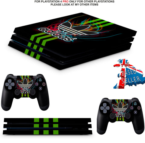 ADIDAS GREEN STRIPE PS4 PRO SKINS DECALS (PS4 PRO VERSION) TEXTURED VINYL
