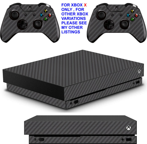 BLACK CARBON EFFECT XBOX ONE X *TEXTURED VINYL ! * PROTECTIVE SKINS DECALS STICKERS