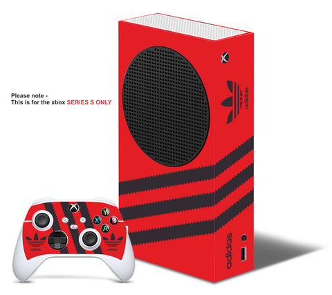 ADIDAS RED & BLACK Xbox SERIES S *TEXTURED VINYL ! * SKINS DECALS STICKERS