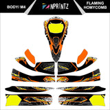 M4 FLAMING HONEYCOMB FULL KART STICKER KIT