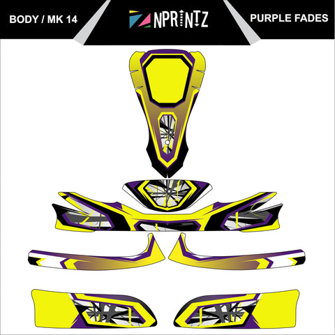 MK14 PURPLE FADES FULL KART STICKER KIT