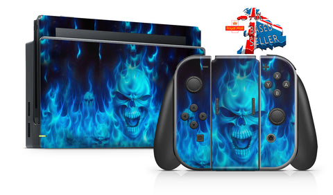 BLUE FLAMING SKULL NINTENDO SWITCH **TEXTURED VINYL ! *  SKINS DECALS WRAP