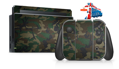 GREEN CAMO NINTENDO SWITCH **TEXTURED VINYL ! *  SKINS DECALS WRAP
