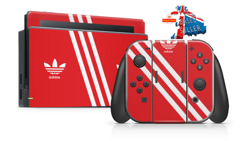 ADIDAS ORANGE & WHITE NINTENDO SWITCH **TEXTURED VINYL ! *  SKINS DECALS WRAP