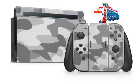 GRAY CAMO NINTENDO SWITCH **TEXTURED VINYL ! *  SKINS DECALS WRAP