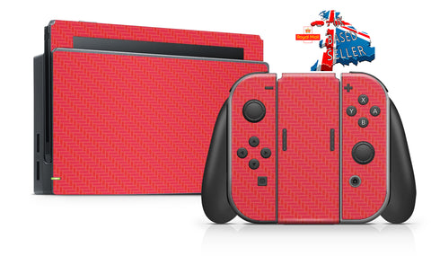 RED CARBON EFFECT NINTENDO SWITCH **TEXTURED VINYL ! *  SKINS DECALS WRAP