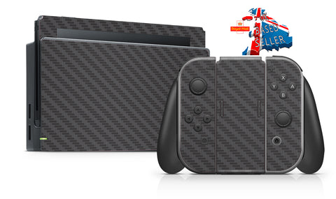BLACK CARBON EFFECT NINTENDO SWITCH **TEXTURED VINYL ! *  SKINS DECALS WRAP