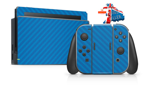BLUE CARBON EFFECT NINTENDO SWITCH **TEXTURED VINYL ! *  SKINS DECALS WRAP