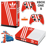 ADIDAS ORANGE XBOX ONE S (SLIM) *TEXTURED VINYL ! * PROTECTIVE SKIN DECAL WRAP