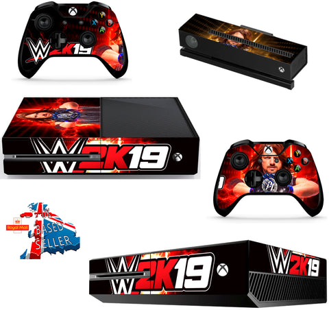 WWE 2K19 XBOX ONE *TEXTURED VINYL ! *PROTECTIVE VINYL SKIN DECAL WRAP