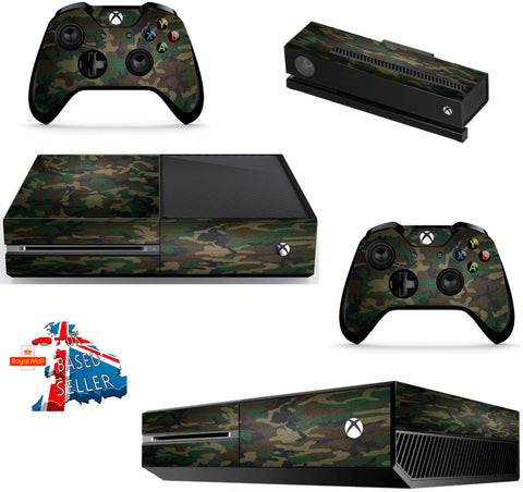 GREEN CAMO XBOX ONE *TEXTURED VINYL ! *PROTECTIVE VINYL SKIN DECAL WRAP