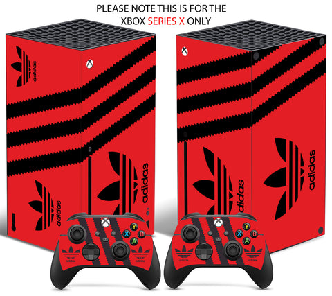 ADIDAS RED & BLACK Xbox SERIES X *TEXTURED VINYL ! * SKINS DECALS STICKERS