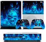 BLUE FLAMING SKULL BOMB XBOX ONE S (SLIM) *TEXTURED VINYL ! * PROTECTIVE SKIN DECAL WRAP