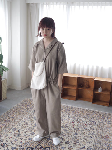 linen jumpsuit (brown)【original】