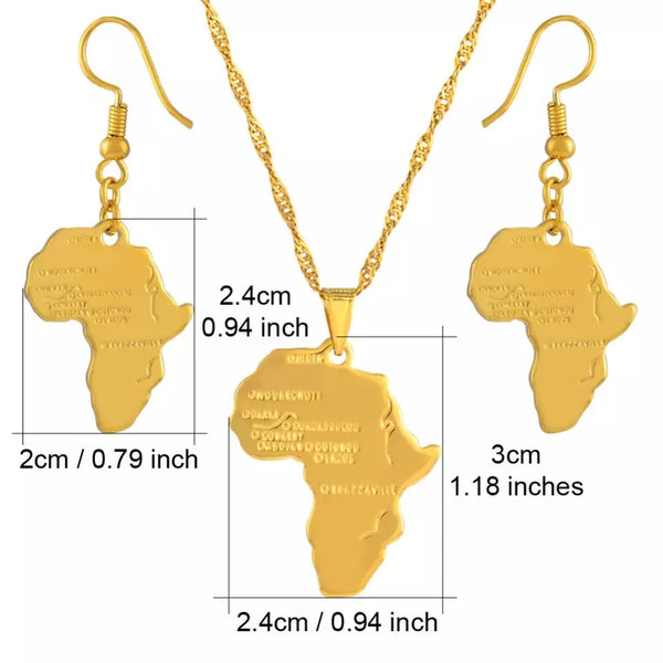 Africa Map Jewelry Set: 60Cm Pendant Necklace & Earrings-Gold Color