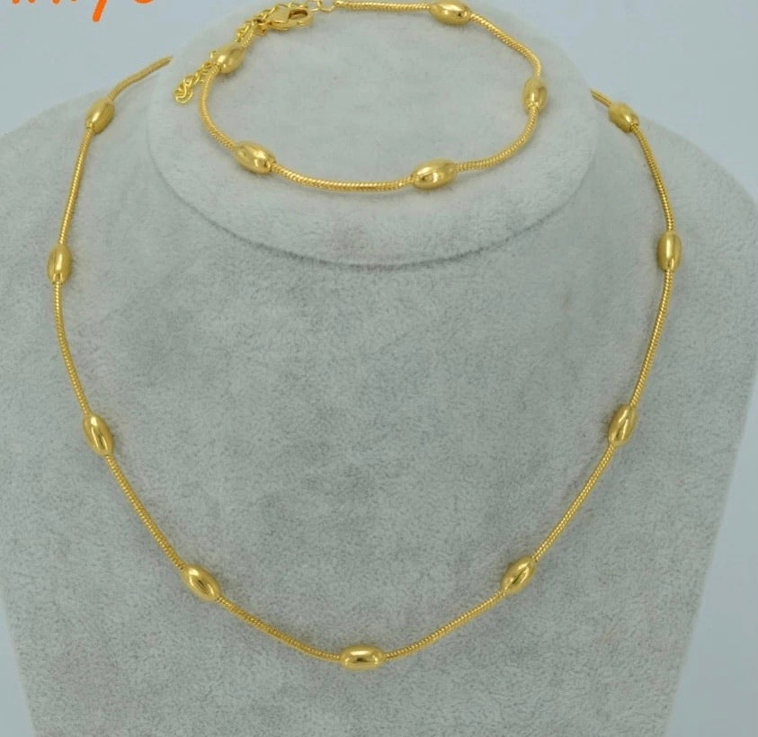 45Cm Women Jewelry Set: Necklace & Bracelet-Gold color