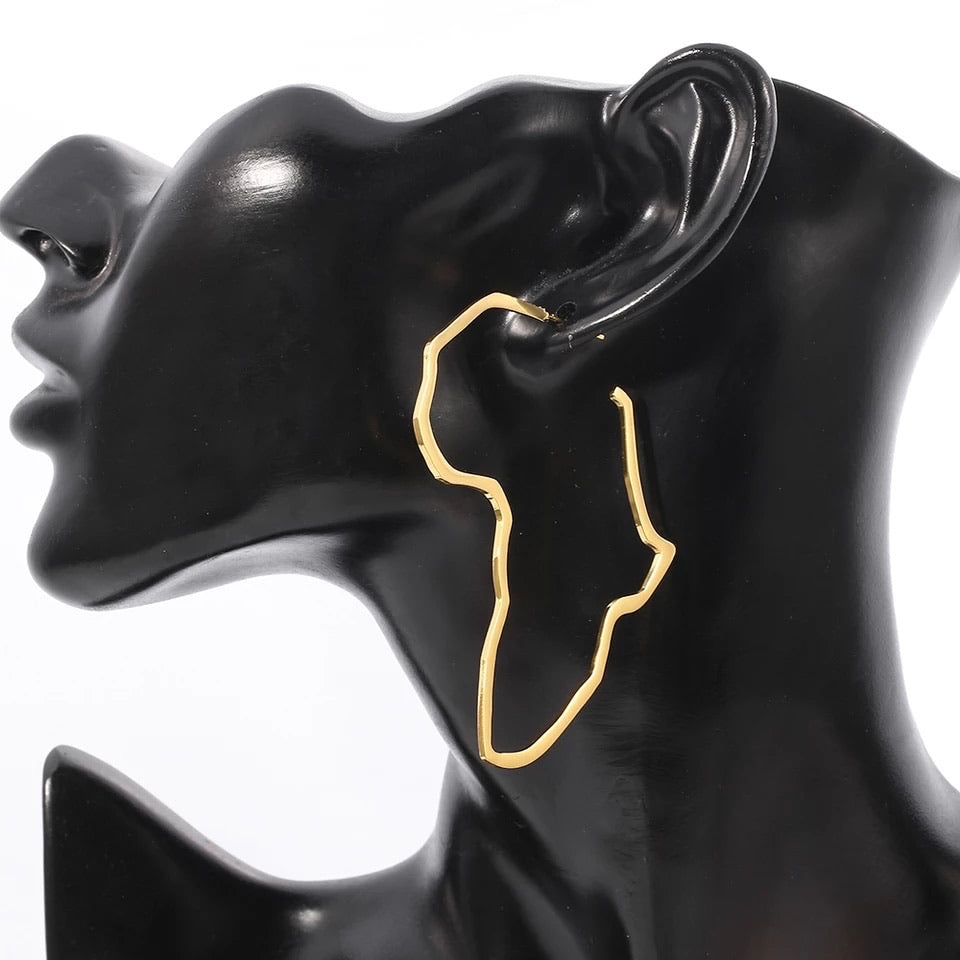 Africa Map Big Earrings: Exaggerate Larger Earrings Stud-Gold