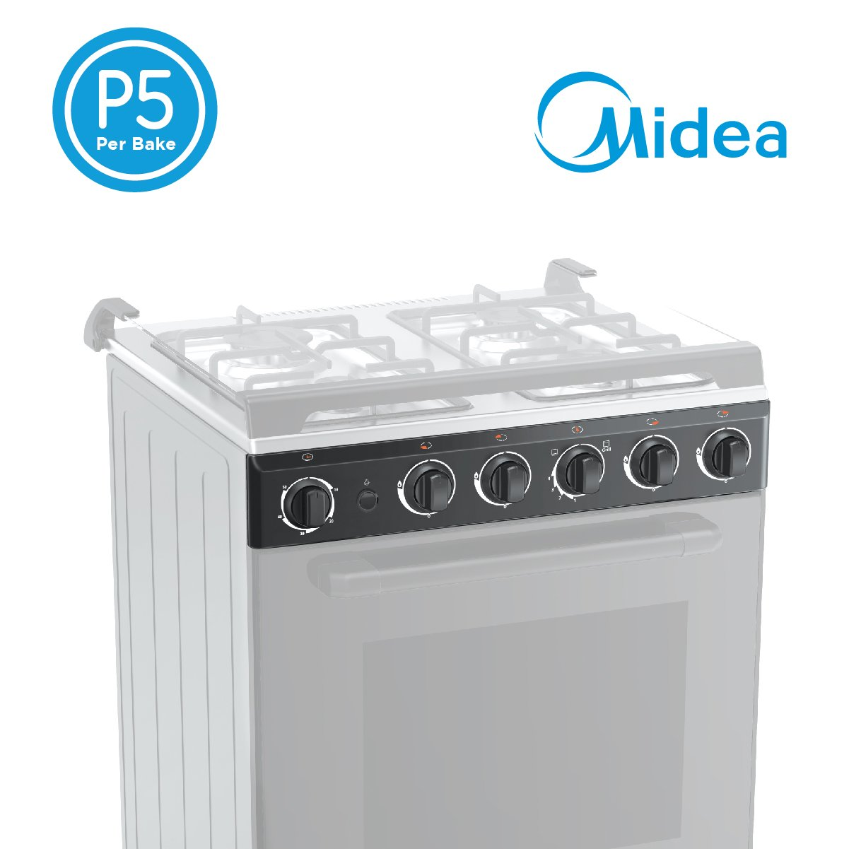 Open Box Unit Midea 60cm Black Gas Range (4 Gas Burners)