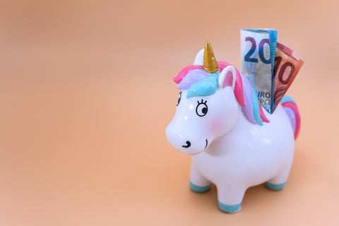 Tirelire licorne billets