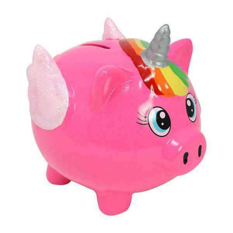 Tirelire licorne rose