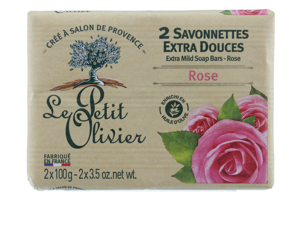LE PETIT OLIVIER Two Extra Mild Soap Bars Rose