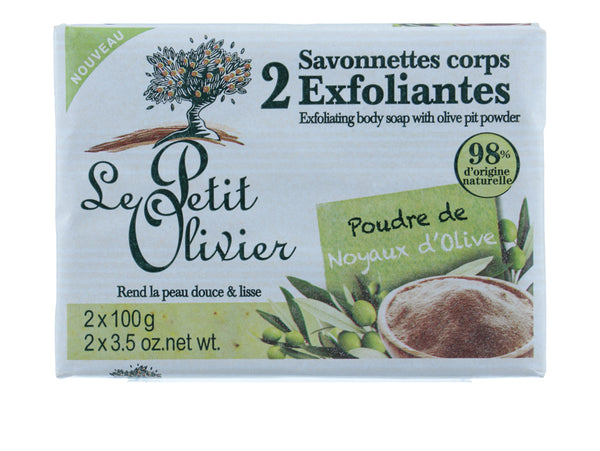 LE PETIT OLIVIER Two Exfoliating Body Soaps with Olive Pit Powder