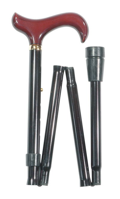CLASSIC CANES Black folding stick with burgundy derby handle and carrying wallet 4003W