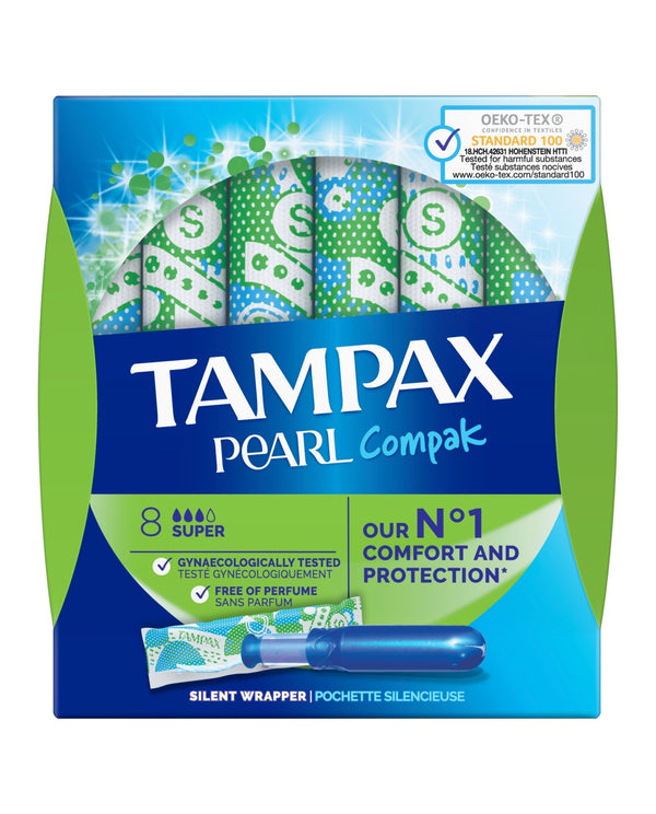 TAMPAX Tampax Pearl Compak Super Tampons Applicator 8X