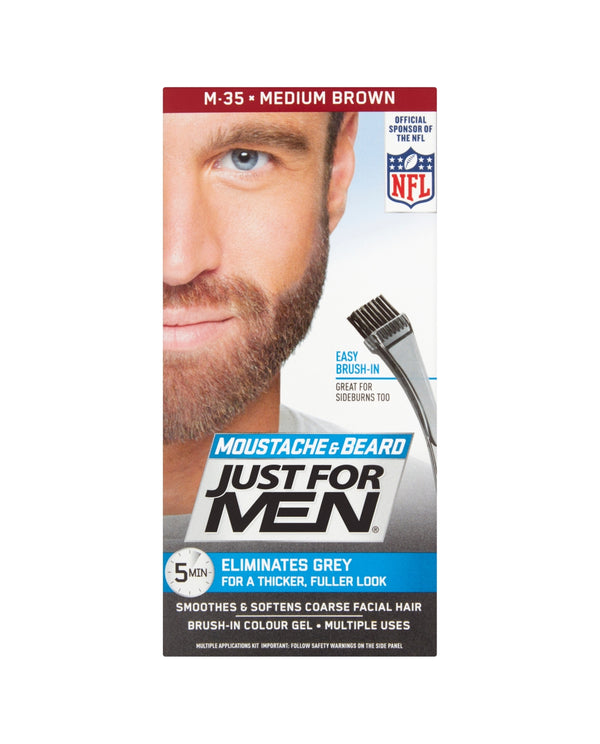 JUST FOR MEN Moustache & Beard Brush-In Gel M-35 Medium Brown