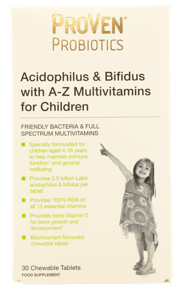 PROVEN Probiotics Acidophilus & Bifidus with A-Z Multivitamins for Children Chewable Tablets