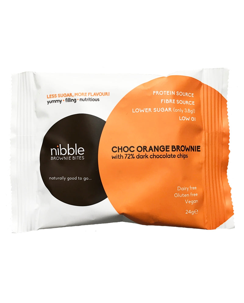 NIBBLE Choc Orange Brownie with 72% Dark Chocolate Chips