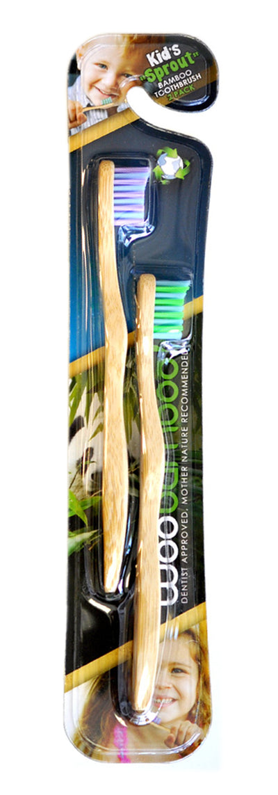 WOOBAMBOO Kids Twin Pack Toothbrushes