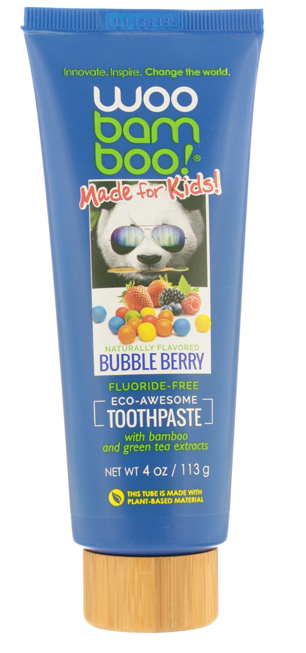 WOOBAMBOO Kids Bubble Berry Fluoride Free Toothpaste