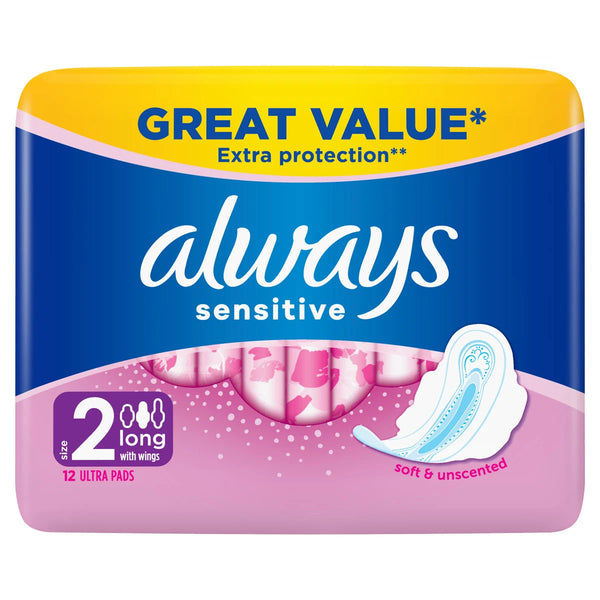 ALWAYS Sensitive Long Ultra (Size 2) Sanitary Towels Wings