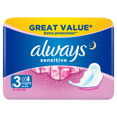 ALWAYS Sensitive Night Ultra (Size 3) Sanitary Towels  Wings