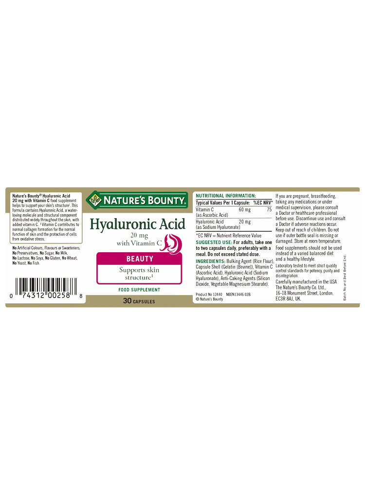 Hyaluronic Acid 20 mg with Vitamin C Capsules