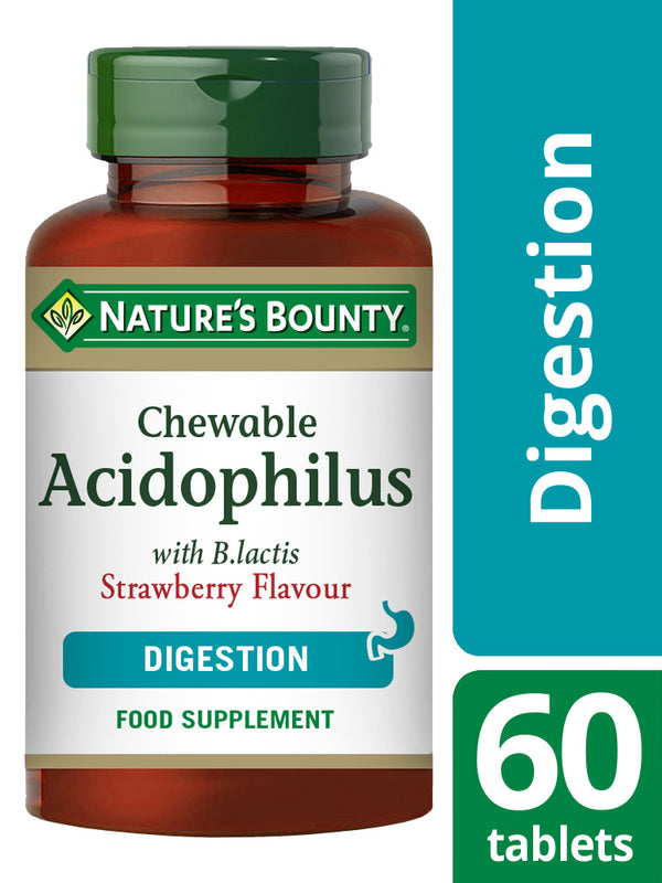 NATURE'S BOUNTY Chewable Acidophilus with B. lactis Strawberry Flavour Tablets