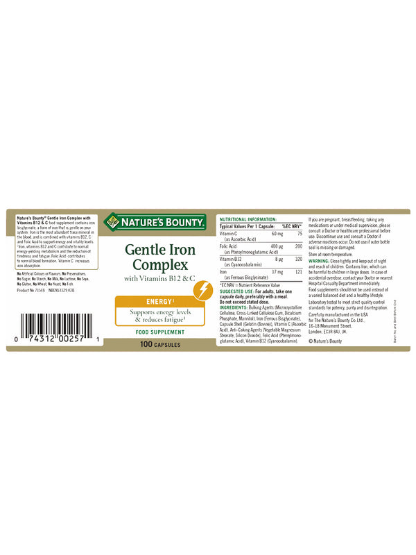 Gentle Iron Complex with Vitamins B12 and C