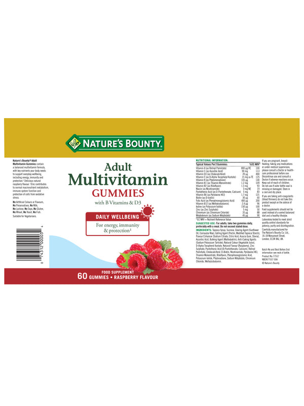 Adult Multivitamin Gummies with B vitamins and D3