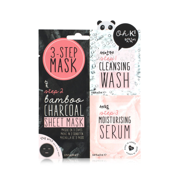 OH K! 3-Step Bamboo Charcoal Sheet Mask