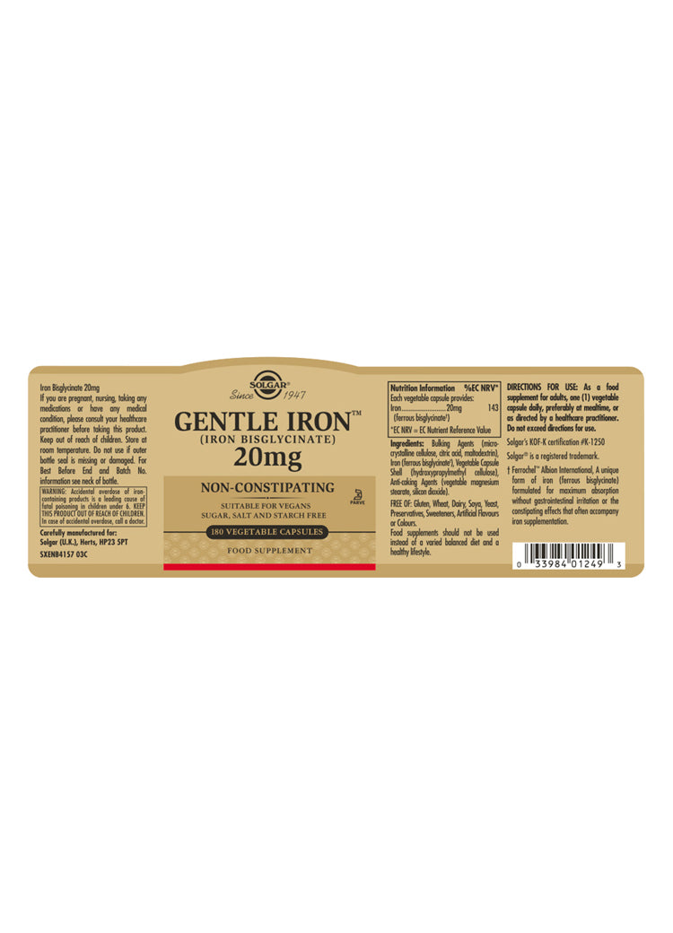Gentle Iron (Iron Bisglycinate) 20 mg