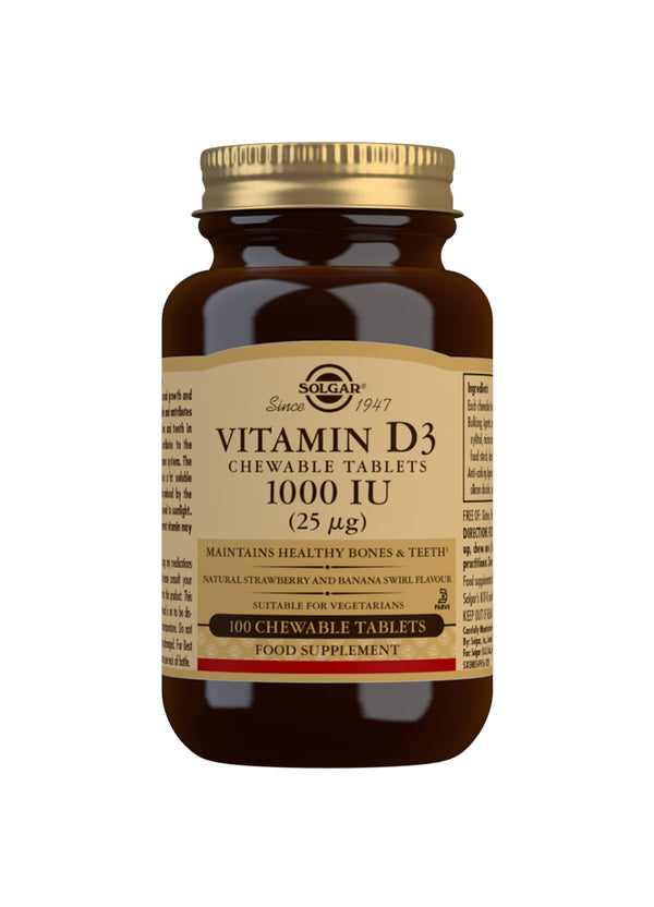 SOLGAR Vitamin D3 1000 IU (25 µg) Chewable Tablets