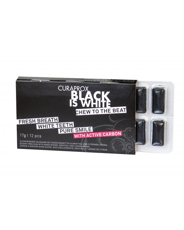 CURAPROX Black Is White Charcoal Chewing Gum