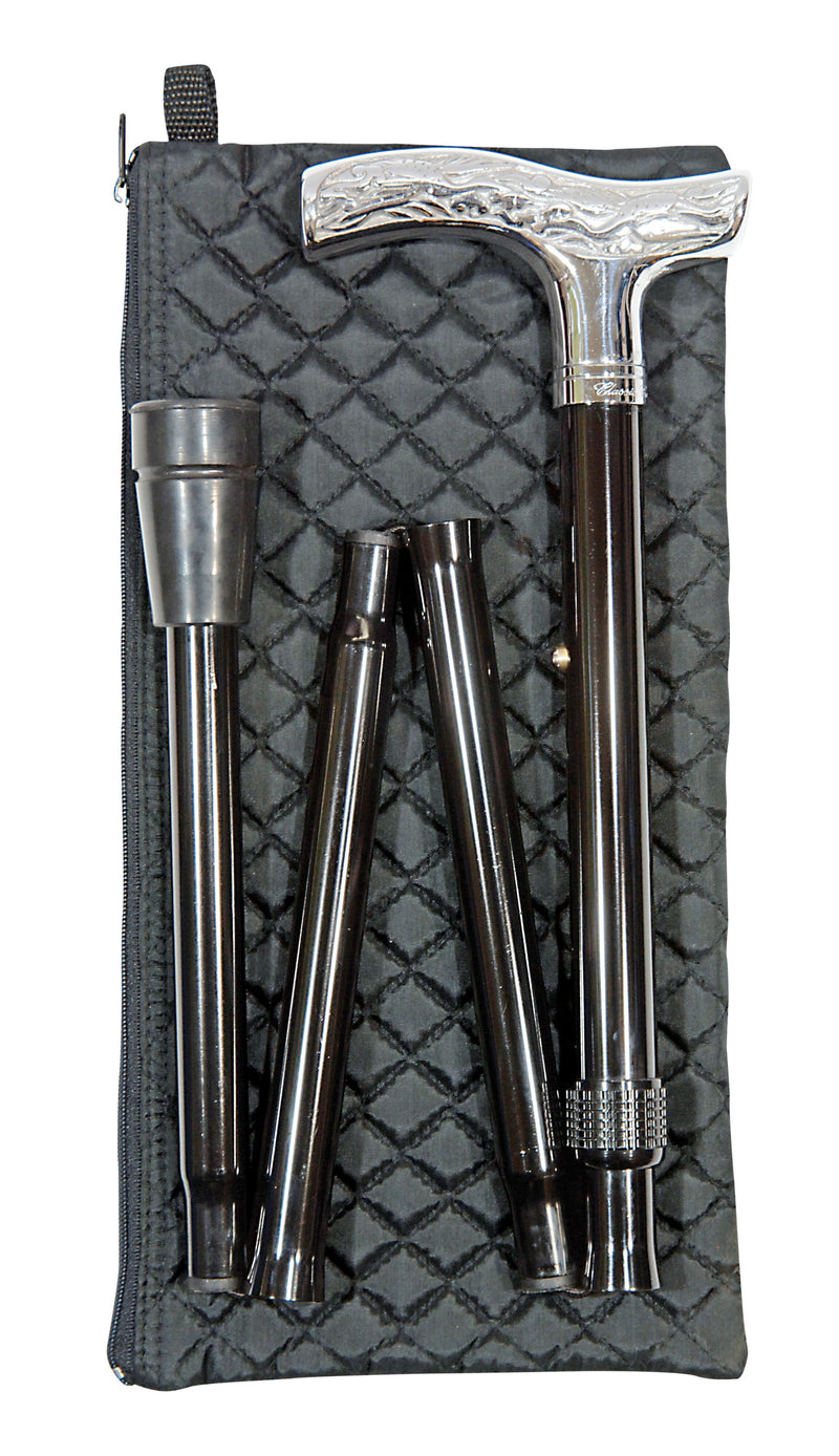 CLASSIC CANES Folding Adjustable Chrome - With Wallet