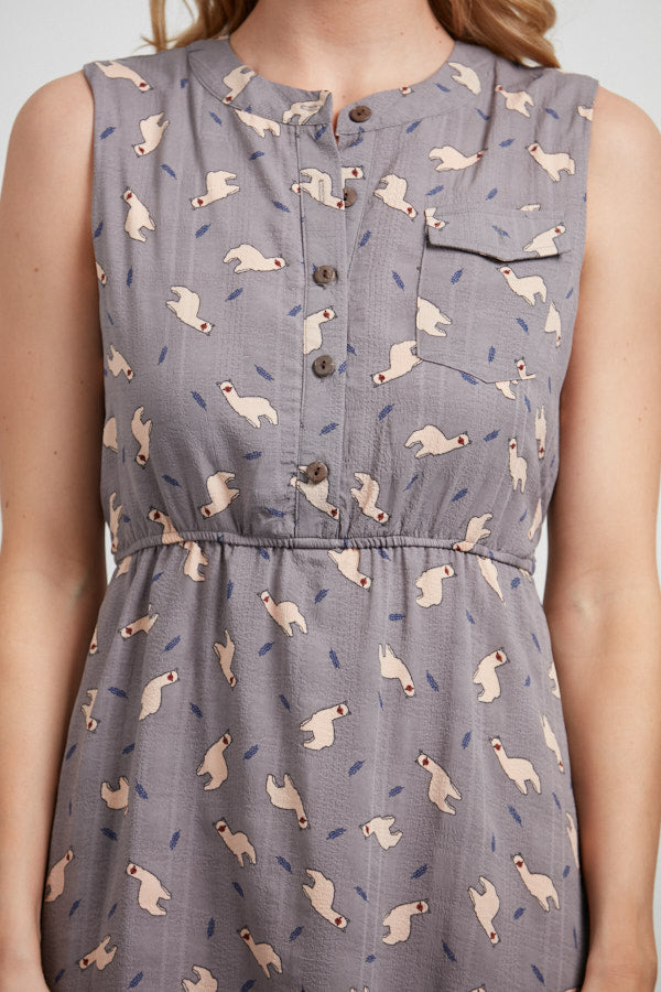 llama sleeveless dress