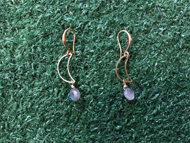 Cresent moon with labradorite Earring